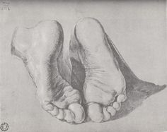 """Feet of an Apostle"" - Albrecht Dürer Dürer was the first artist to give himself a logo and create a brand (top left hand corner). It provides the viewer with the ability to differentiate his stuff from other northern renaissance artists. Life Drawing, Drawing Sketches, Painting & Drawing, Art Drawings, Drawing Ideas, Feet Drawing, Figure Drawings, Pastel Drawing, Albrecht Durer"