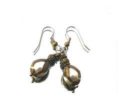 SALE white tulip pearl bronze earrings bronze plated door deBATjes