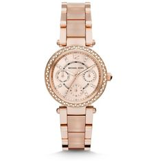 Michael Kors Mini Parker Pave Rose Goldtone Stainless Steel & Acetate... ($310) ❤ liked on Polyvore featuring jewelry, watches, mk, apparel & accessories, rose gold, chronograph watches, pink watches, dial watches, pink bracelet watch and bezel watches