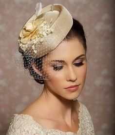Ivory Cream Champagne Headpiece Bridal Hat Bridal by GildedShadows