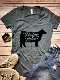 Heifer Please T-Shirt, Women's T-shirt, Funny Shirt, Farm Shirt, Graphic Shirt, Cow Shirt, Cowgirl Shirt, Country Shirt