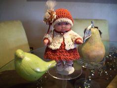"Berenguer 5"" Baby Dolls - Rust dress/cream sweater #70"