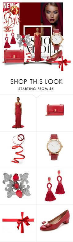 """""""Holiday Fashion in Red!!"""" by stylediva20 ❤ liked on Polyvore featuring Maiyet, Salvatore Ferragamo, Frontgate, Michael Kors and Oscar de la Renta"""