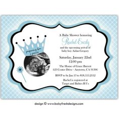 Preparing for a Prince ?? Can this be done for twins ??   DIGITAL - Baby Shower Invitation with or without Ultrasound/Sonogram photo //you can change the colors// Rachel design