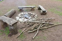 Outside hearth #vikingfortress #fire #wooden benches