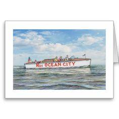 "Shop Paul McGehee ""Miss Ocean City"" Card created by MCGEHEEWORLD. Beach Watch, Famous Beaches, Speed Boats, Atlantic Ocean, Ocean City, Beach Resorts, Note Cards, Envelope, Cruise"