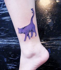 maybe a different color Whimsical Tattoos, Cat Tattoos, Purple Cat, Skin Art, Shades Of Purple, Cat Art, Tattoo Inspiration, Tatting, Piercings