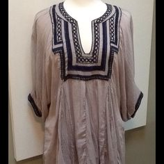 """Free People Gauzy Tunic Top Oversized Small. Gently loved.  Lightest Gauze Tunic. Lovely embroidered details on collar and  sleeve cuffs.  Great cover-up or pair with cut offs, jeans or leggings.  Price reflects pre-owned condition.  *from shoulder to front hem 30""""* Free People Tops Tunics"""