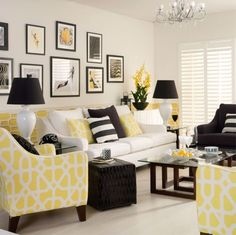 Yellow, black and white against an ivory background equals a classy, contemporary look.  This scheme is particularly good for North facing rooms that need light and bright.