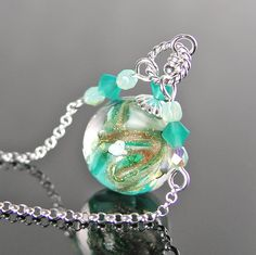 Sea Green Necklace Sterling Silver Chain by DorotaJewelry on Etsy