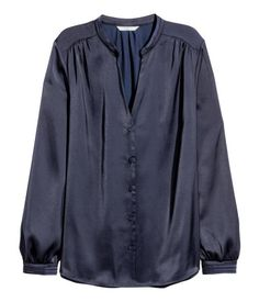 Satin Blouse | Dark blue | SALE | H&M US