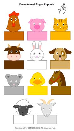 Farm Animals Preschool, Farm Animal Crafts, Animal Crafts For Kids, Preschool Crafts, Farm Activities, Animal Activities, Puppets For Kids, Farm Theme, Mask For Kids