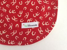 Giddy Up Cowboy ~ Bib RED Horseshoe ORGANIC Cotton Terry Michael by WeeWhimsicals