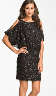 Aidan Mattox Bloused Sequin Cold Shoulder Dress available at ...