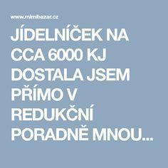 JÍDELNÍČEK NA CCA 6000 KJ DOSTALA JSEM PŘÍMO V REDUKČNÍ PORADNĚ MNOU UPRAVENÝ   Mimibazar.cz