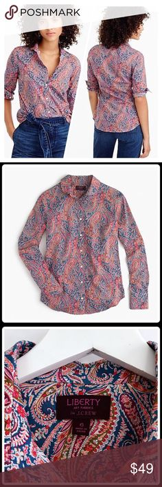 J. Crew perfect shirt in Liberty Art Fabrics J. Crew Club collar perfect shirt in Liberty Art Fabrics Felix & Isabella print.   Size6.  features precisely placed darts for a slimming, waist-defining fit that's more tailored and polished than boy shirt. in a pretty pattern from Liberty Art Fabrics, the British print house that's been known for its mood-lifting florals and paisleys since 1875. This motif in particular was created for them in the 1850s.  •in excellent condition. No flaws…