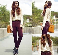 Lace and Oxblood (by Aileen Belmonte) http://lookbook.nu/look/4626363-Lace-and-Oxblood