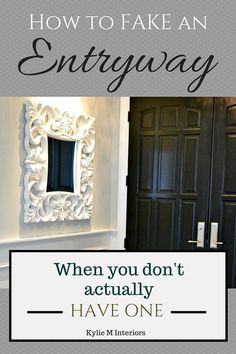 Ideas for how to make an entryway with storage when you don't have one, when it's open to the living room. Kylie M Interiors E-Design and Consulting