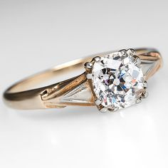 Old Mine Cut Diamond Solitaire Engagement Ring 14K Gold, 1900's