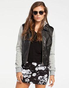 FULL TILT Fleece Sleeve Womens Faux Leather Jacket