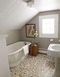 Small Attic Bathroom Design small Bathroom remodel and Makeover With Before and After. easy industrial, farmhouse, minimalist etc From Single Sink Vanity to Double Sink Bathroom Remodel. Small Attic Bathroom, Tiny Bathrooms, Upstairs Bathrooms, Rustic Bathrooms, Bathroom Design Small, Beautiful Bathrooms, Bathroom Ideas, Bathroom Remodeling, Remodeling Ideas