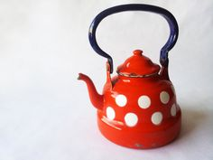 French Enamelaware TEAPOT Kettlered and by PetitesChosesDeLaVie, $40.00