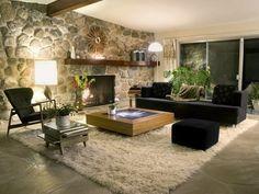 wandgestaltung wohnzimmer steinoptik rustikal shaggy teppich