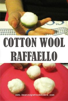 Best Toys 4 Toddler - An easy to create cotton wool raffaello for baking pretend play and tactile sensory play with kids. Sensory Activities Toddlers, Preschool Learning Activities, Play Based Learning, Learning Through Play, Infant Activities, Sensory Play, Toddler Preschool, Toddler Toys, Kids Learning