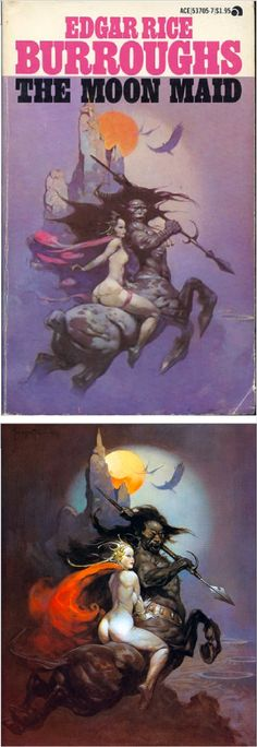 FRANK FRAZETTA - The Moon Maid by Edgar Rice Burroughs  - 1978 Ace Books - cover by isfdb - print by erbzine.com