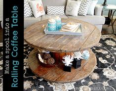 Weathered Cool Coffee Table - CreativeMeInspiredYou.com spool, DIY furniture, furniture, cable spool, weathered wood, wood furniture, refurbished table, living room, family room, home decor, coffee table