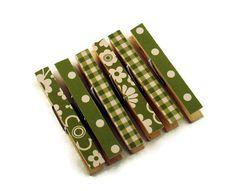 altered clothes pins   Altered Clothes Pins Decorative Clothespins in Modern Avocado