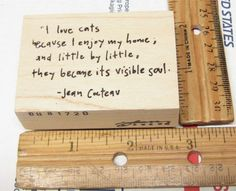 I LOVE CATS BECAUSE KITTY CAT QUOTE JEAN COCTEAU BY PAPER GARDEN RUBBER STAMP #THEPAPERGARDEN #WOODMOUNTEDRUBBERSTAMP