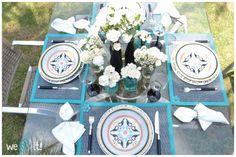 Mesa posta | inspiração para um almoço no jardim com a combinação turquesa + preto