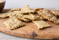 These Sourdough Brown Rice and Millet Crackers are filled with lot's of seeds: sesame seeds, flax seeds and chia seeds to be exact.