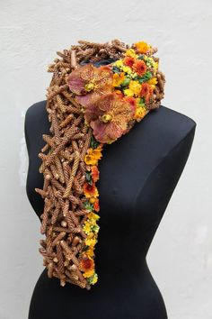 .Scarf made of flowers #floralcouture #floralart