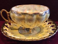 Vintage Royal Sealy Tea Cup 3 Footed Iridescent Yellow Reticulated Saucer Japan #RoyalSealy