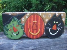 Painted Paver for Halloween 12004 Bewitched Pattern Oil Creek Originals by OilCreekOriginals Witch Pumpkin Black Cat Scarecrow Painted Bricks Crafts, Brick Crafts, Painted Pavers, Painted Rocks, Hand Painted, Cement Pavers, Concrete Edging, Brick Projects, Concrete Blocks