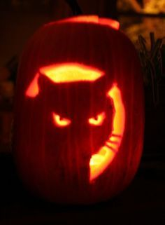Cat-O-Lanterns: 30 Of The Greatest Halloween Cat Pumpkin Designs [PICTURES Pumpkin carving is an art. Cat owners have helped take it to the next level. Cat Pumpkin Carving, Awesome Pumpkin Carvings, Halloween Pumpkin Carving Stencils, Pumpkin Carving Templates, Pumpkin Art, Pumpkin Ideas, Simple Pumpkin Carving Ideas, Cat Face Pumpkin, Cat Pumpkin Stencil