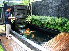 7 Exciting Fish Pond Design For Small Backyard Ideas - Alles über den Garten Fish Ponds Backyard, Backyard Water Feature, Garden Pool, Backyard Ideas, Koi Ponds, Pond Ideas, Small Fish Pond, Koi Fish Pond, Small Ponds