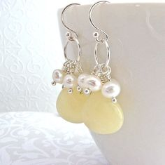 Yellow Jade and Pearl Cluster Earrings