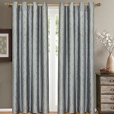 """$44.99 Set of 2 Panels 104""""Wx96""""L -Royal Tradition - LAGUNA - BLUE - Jacquard Grommet Window Curtain Panels , 52-Inch by 96-Inch each Panel. Package contains set of 2 panels 96"""" Long. Royal Tradition http://www.amazon.com/dp/B010GLEALM/ref=cm_sw_r_pi_dp_DkyLwb053T165"""