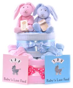 Twin Boy and Girl Nappy Cake - Pink and Blue Gift