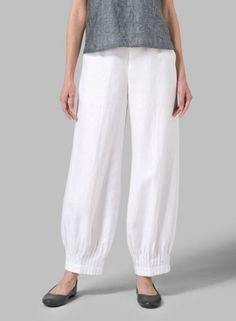 Linen Pleated Cuff Ankle Length Pants - Plus Size Miss Me Outfits, Chic Outfits, Fashion Outfits, Dress Neck Designs, Blouse Designs, Plus Clothing, Size Clothing, Salwar Designs, New Fashion Trends