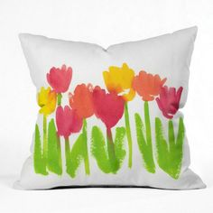 """Mother's Day gift ideas: Styled in artist Laura Trevey's signature watercolor designs, the colorful """"Bright Tulips"""" Pillow will add a pop of color to your space. 4 sizes available."""
