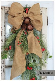 Rustic Window Door Swag...with burlap, jingle bells, pine & berries.
