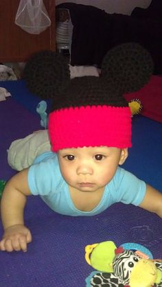 Gabriel's Mickey Mouse hat...of course I had to make one for him too