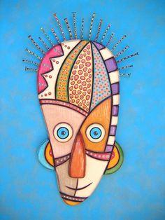 Kooper, Original Found Object Sculpture, Wall Art, Wood Carving, Wall Decor, Mask, by Fig Jam Studio