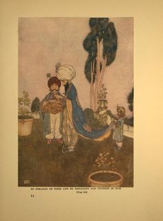 """So strange of form and so brilliant of hue   Edmund Dulac   """"The Fisherman and the Genie,"""" from Stories from the Arabian Nights   1907"""