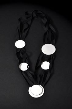 Aumorfia | Circles | b/w leather 'n' ribbons necklace