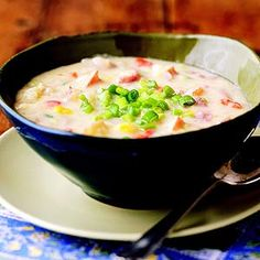 Smashed Potato Soup This easy slow-cooker recipe for potato soup gets extra richness and flavor from cheddar cheese and whipping cream. Green onions add a finishing touch of freshness..